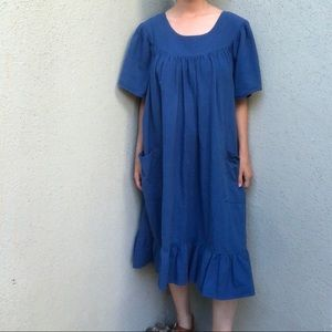 [vintage] cobalt blue tiered cotton ruffle dress